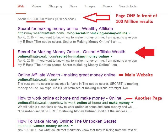 Secret to making Money online Page One Google
